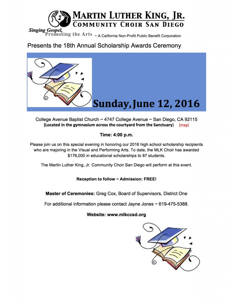 MLKCCSD - (CAP) FLYER ~ 18TH ANNUAL SCHOLARSHIP AWARDS  CEREMONY - 4-21-2016