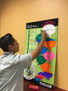 Miguel Molina colors in the YES student's survey chart as they get closer to reaching their collective goal of obtaining 1,000 surveys.