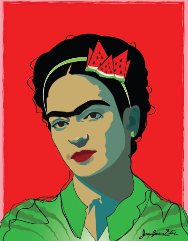 An original portrait of iconic artist Frida Kahlo by Jessie