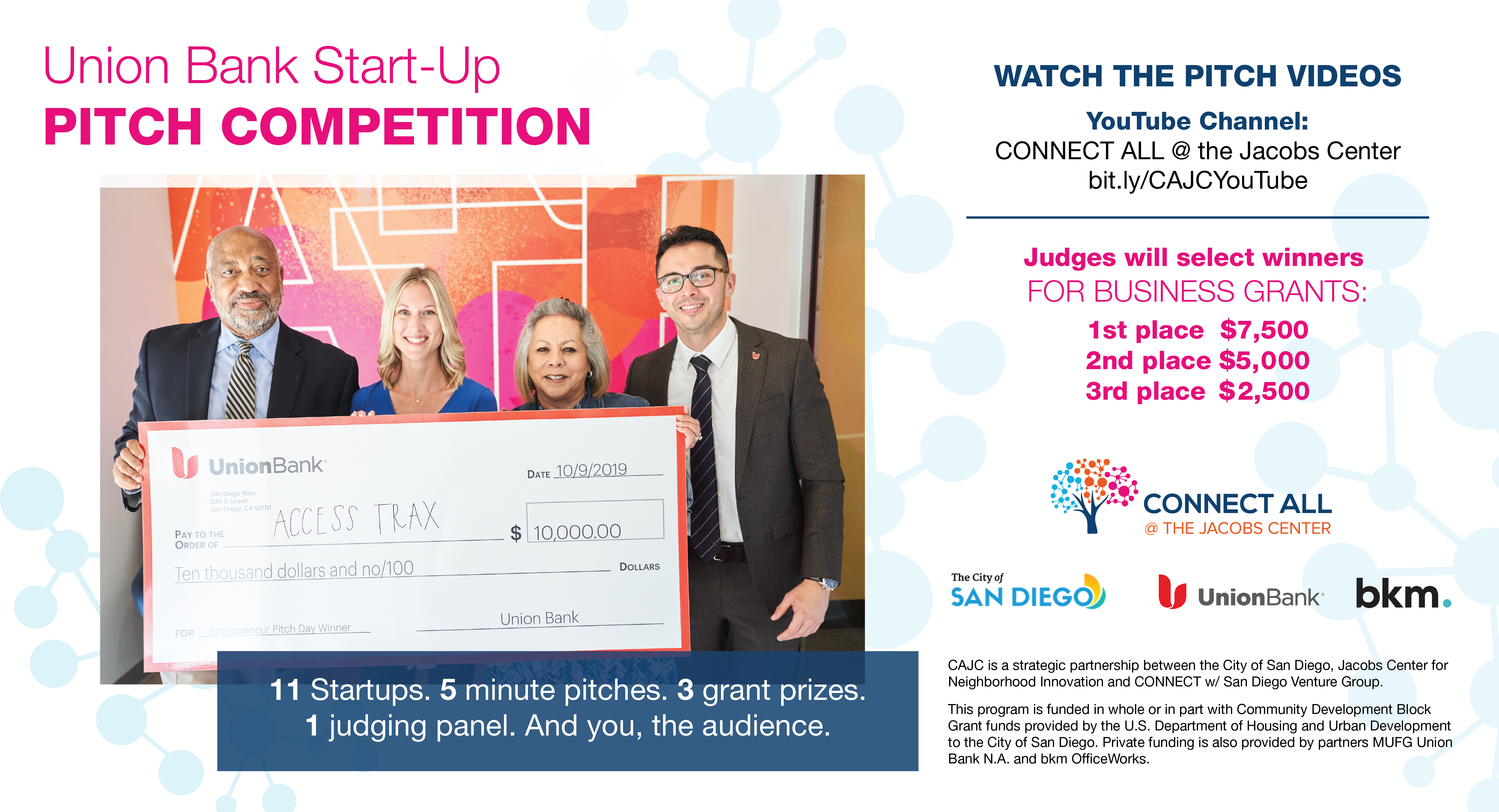 Watch the Pitch Videos on the CONNECT ALL @ the Jacobs Center YouTube chanel at bit.ly/CAJCYouTube. Judges will select winners for business grants. First place gets $7,500. Second place gets $5,000. Third place gets $2,500.